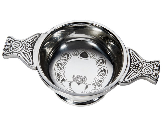 Engraved Irish Claddagh Pewter Quaich Bowl - Customised Personalised Message