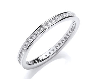 925 Sterling Silver 2mm Full Channel Set Brilliant Cz Eternity Ring Rhodium Plated
