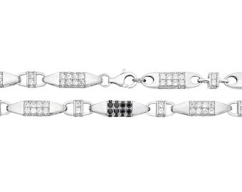 "Gents 8"" Solid 925 Sterling Silver Black Cz 6mm Block Chain Bracelet"