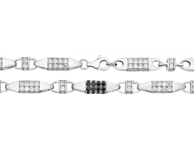 "Gents 8"" Solid 925 Sterling Silver Black Cz 6mm Block Chain Bracelet"