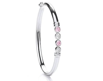 925 Sterling Silver Pink & White 4 Stone Cz Hinged Baby Bangle
