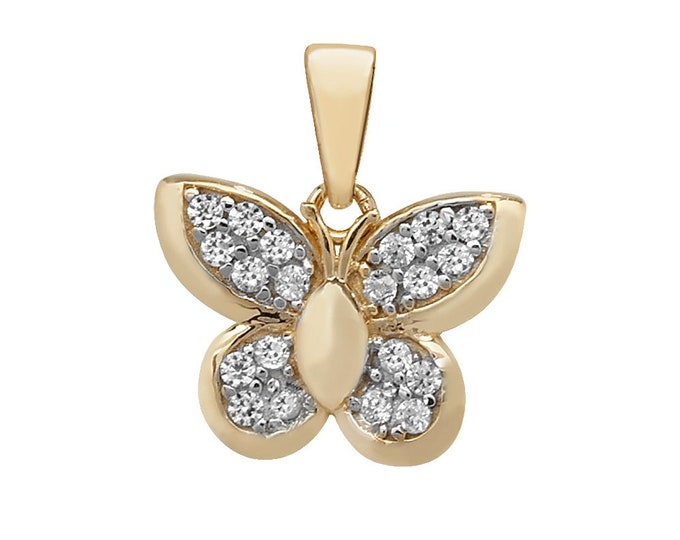 9ct Yellow Gold 1.4cm Pave Set Cz Butterfly Charm Pendant - Real 9K Gold