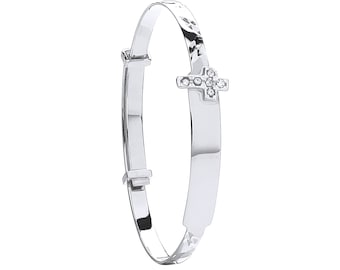 9ct White Gold Babies Expandable 3mm Cz Cross ID Bangle Hallmarked - Solid 9K Gold