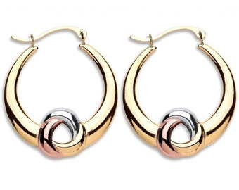 9ct 3 Colour Gold 25mm Twisted Knot Hoop Earrings Hallmarked