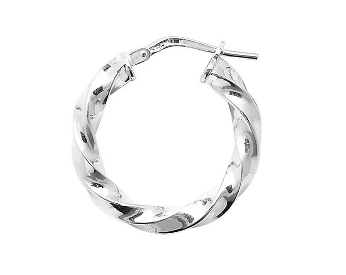 925 Sterling Silver Twisted Hollow Hoop Earrings  - Choice of sizes