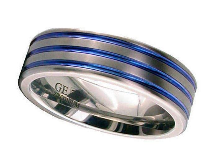 Flat Court Zirconium Wedding Ring With 3 Anodised Coloured Grooves - Made to Order - FREE ENGRAVING