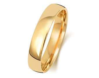 9ct Yellow Gold Modern Slight Court Shape Wedding Ring UK Hallmarked Widths 2mm-8mm Sizes J-Z
