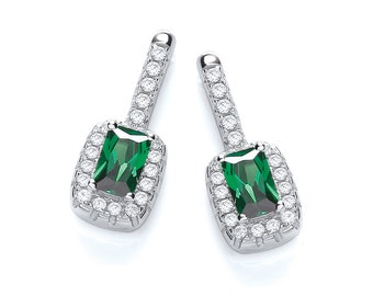 Emerald Cut Green Cz Cluster Drop Stud Earrings 925 Sterling Silver