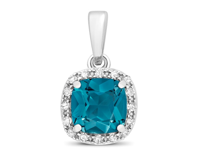 9ct White Gold 0.08ct Diamond 6mm Cushion Cut London Blue Topaz Pendant