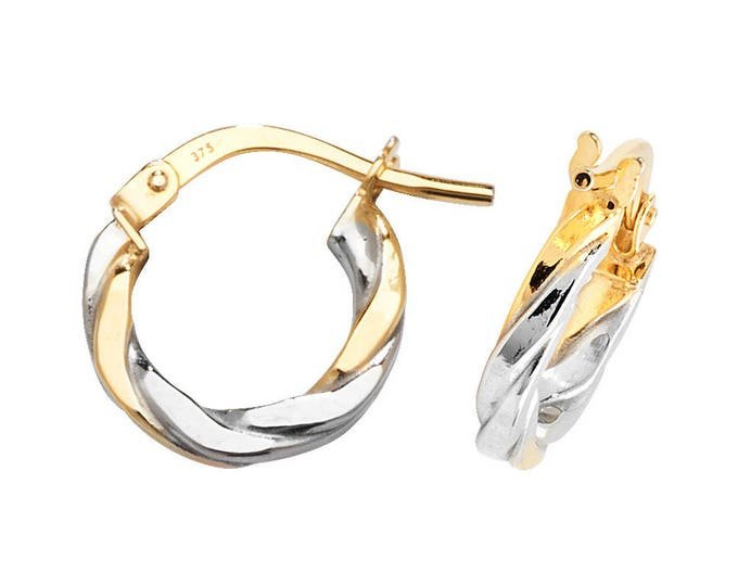 9ct 2 Colour Yellow & White Gold Flat Twisted Hoop Earrings