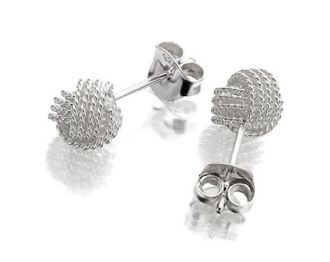 Sterling Silver Twisted Wire Knot 6mm Ball Stud Earrings