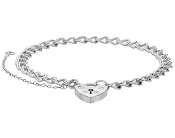 "Ladies Sterling Silver 7"" Heart Padlock Charm Bracelet With Safety Chain"