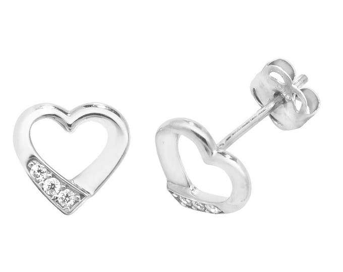 9ct Gold Small 7x5mm Heart Stud Earrings Set With Cubic Zirconia Stones - Real 9K Gold