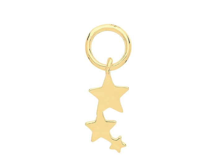 Single 9ct Yellow Gold Shooting Star Earring Charm - Hoop NOT included