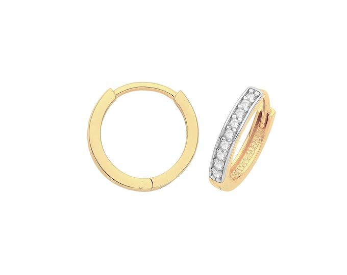9ct Yellow Gold Half Cz Channel Set 8mm Diameter Hinged Huggies Hoop Earrings - Real 9K Gold