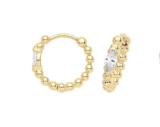 9ct Yellow Gold Marquise Cz 10mm Diameter Bobble Hinged Clicker Hoop Earrings - Real 9K Gold