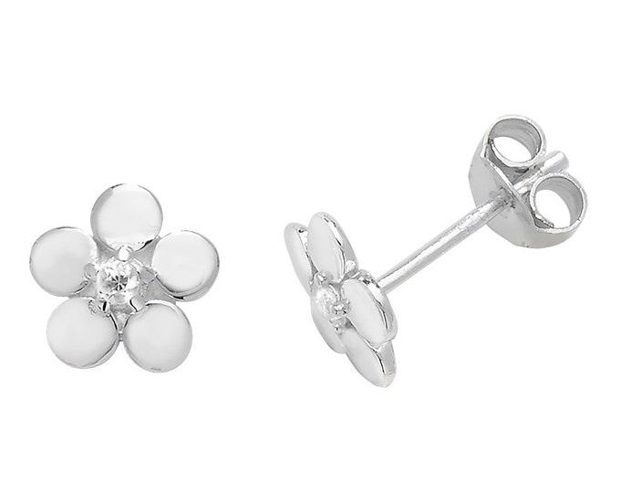925 Sterling Silver 7mm Daisy Flower Cz Stud Earrings
