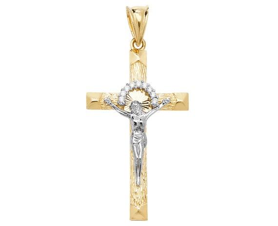 9ct Yellow Gold Crucifix Cross 40 mm