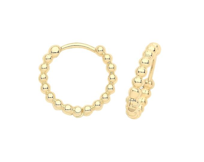 9ct Yellow Gold 10mm Diameter Bobble Hinged Clicker Hoop Earrings - Real 9K Gold