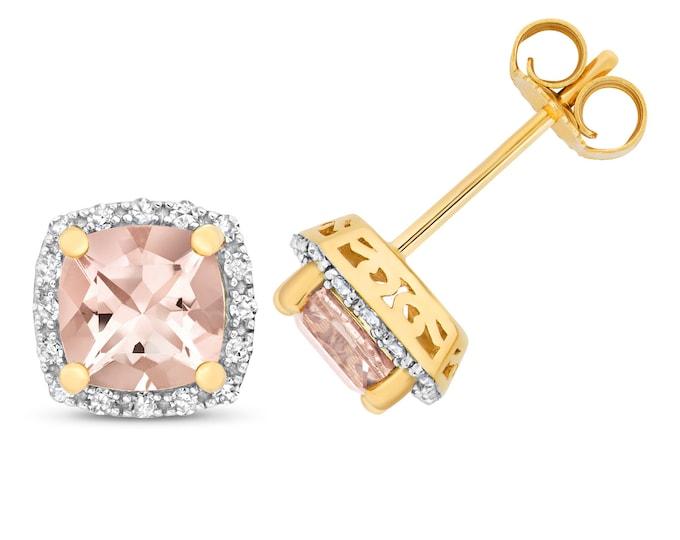 9ct Gold 0.16ct Diamond & Cushion Cut Pink Morganite 6mm Stud Earrings