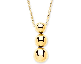 """9ct Yellow Gold Graduated Trilogy Ball Drop Pendant on 16""""-18"""" Chain"""