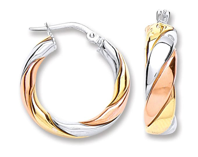 3 Colour Yellow & Rose Gold on Sterling Silver Twisted Stripe 15mm Hoop Earrings