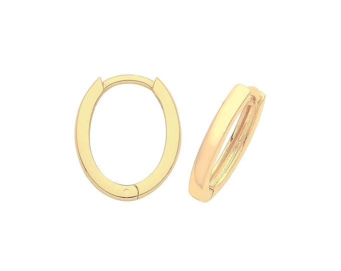 9ct Yellow Gold 11x8mm Oval Hinged Plain Huggies Hoop Earrings - Real 9K Gold