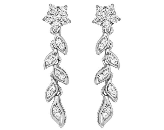 925 Sterling Silver 2.5cm Cluster Cz Flower Wreath Climber Drop Earrings
