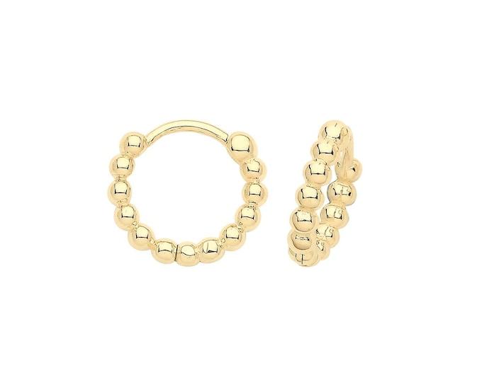 9ct Yellow Gold 8mm Diameter Bobble Hinged Clicker Hoop Earrings - Real 9K Gold