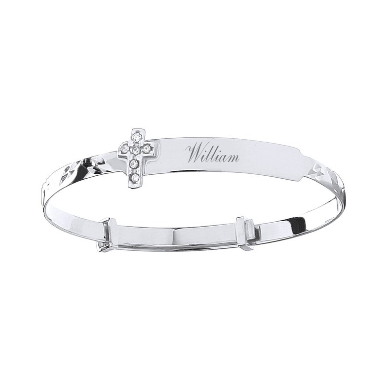 """Baby Bangle 9ct White Gold Christening Gift Heart Engraved Expandable 5.5/"""""""