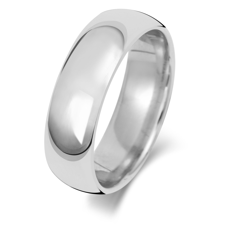 18ct White Gold Plain Court Shape Wedding Ring UK