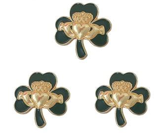 Pack 3 x Irish Gold Claddagh Green Shamrock Lapel Pin Badge St Patrick's Day 2021