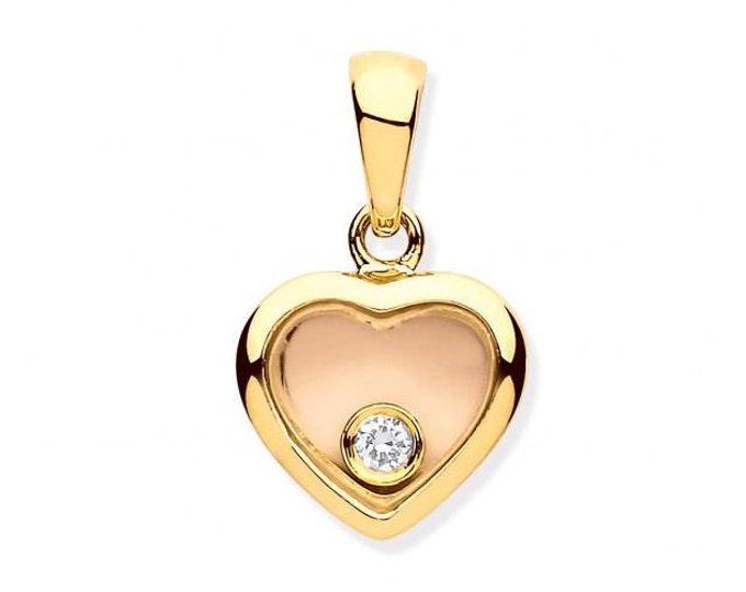 9ct Yellow Gold Floating Diamond Small Heart Pendant