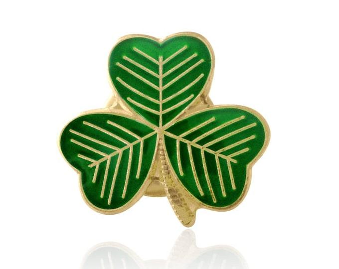 Gold Plated Lucky Irish Shamrock Lapel Pin Badge St Patrick's Day