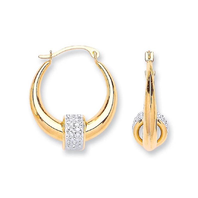 985a3b58894a9 9ct Gold 15mm Hoop Earrings With Suspended Pave Cz Bead