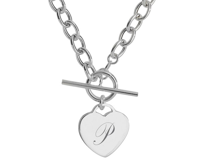 "Sterling Silver Heart Tag Charm T-Bar 17"" Necklace - Personalised Engraved Initial"