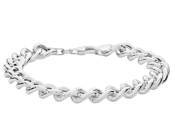 "Ladies Chunky Polished 925 Sterling 6mm Curb Link 7"" Bracelet Hallmarked"