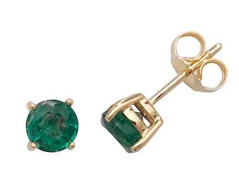 Green Emerald 5mm Claw Set Stud Earrings 9K Yellow Gold Real Emerald Gemstones