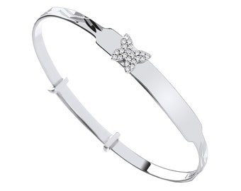 925 Sterling Silver Cz Butterfly Expandable Baby Identity Bangle