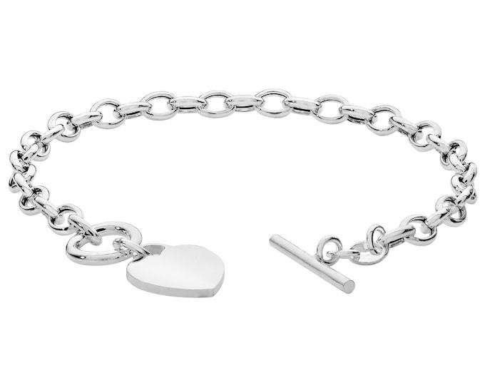 "Ladies 925 Sterling Silver 14mm Heart Tag Charm T-Bar 7"" Albert Chain Bracelet"