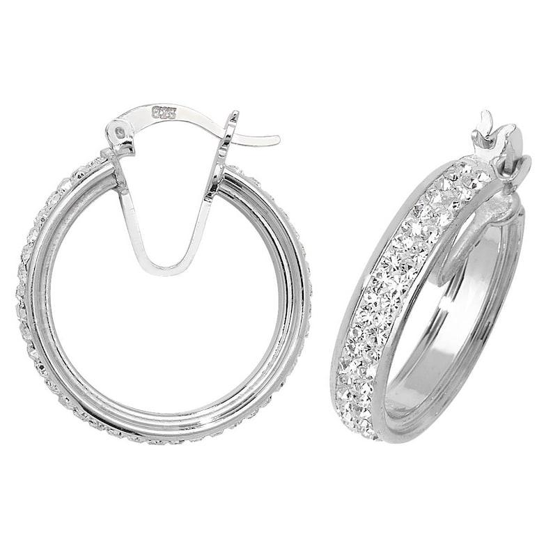 2 Rows Rhinestone Crystal 50mm Big Hoop Circle Earrings Bridal Jewelry