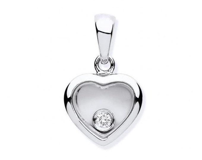 9ct White Gold Floating Diamond Small Heart Pendant