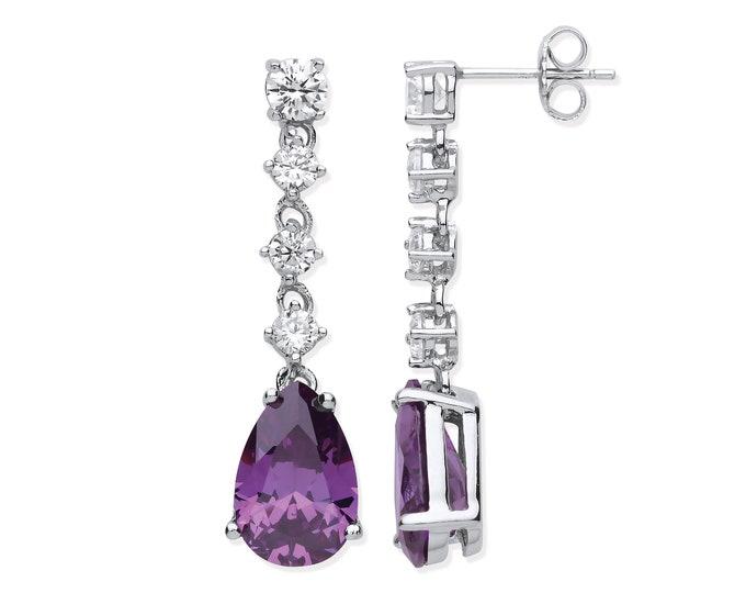 925 Sterling Silver Pear Cut Purple Amethyst Colour Cz 3cm Long Drop Earrings