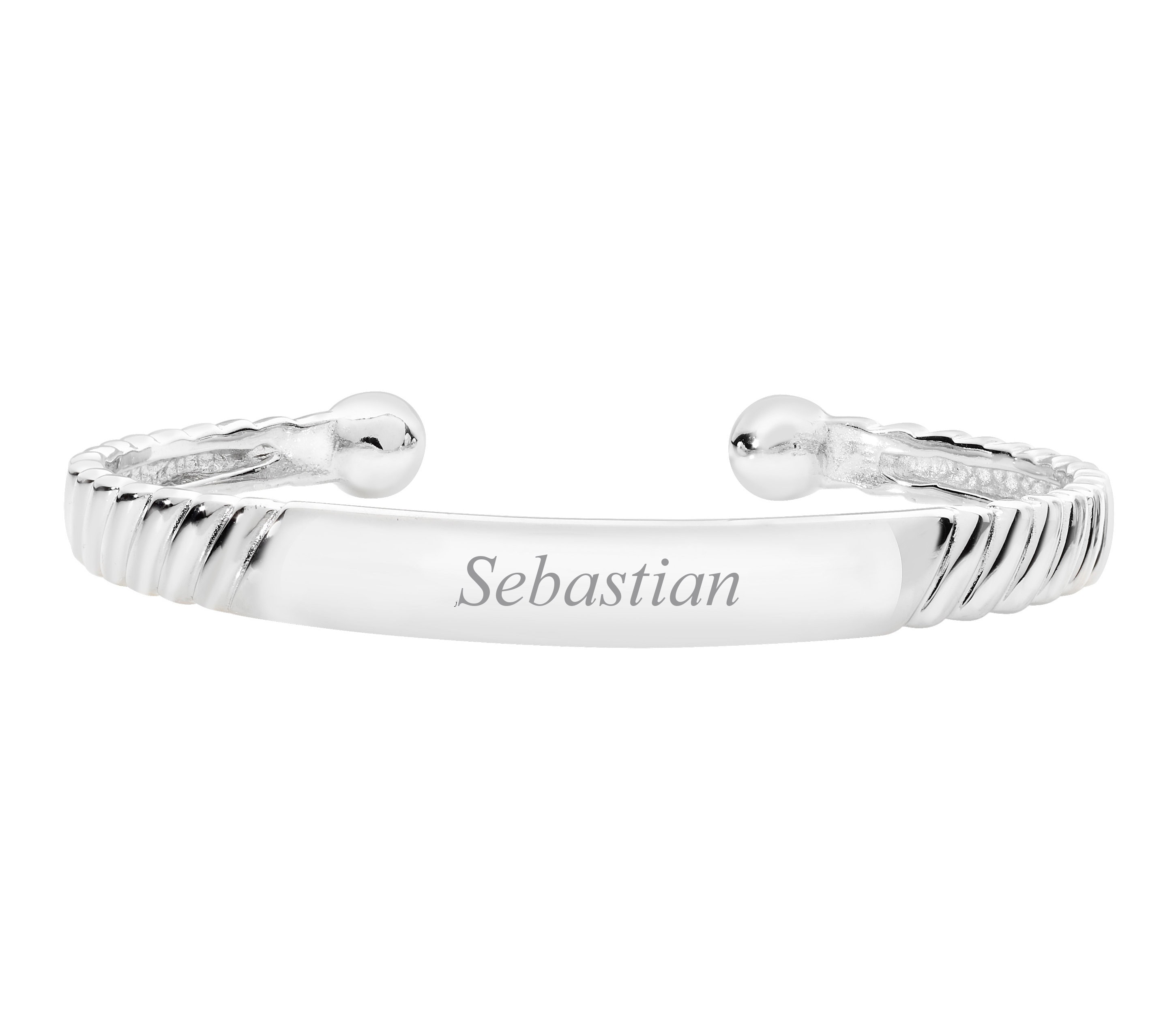 Personalised Engraved Sterling Silver Babies Ribbed Id