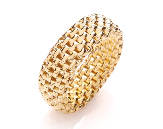 Gold Plated 925 Sterling Silver 8mm Stretchy Panther Mesh Link Ring Size N-V