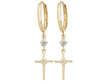 9ct Yellow Gold Hinged Hoop Cz Cross 3cm Drop Earrings Hallmarked - Real 9K Gold