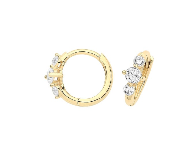 9ct Yellow Gold 3 Stone Cz 8mm Diameter Hinged Clicker Hoop Earrings - Real 9K Gold