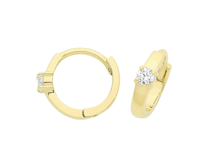 9ct Yellow Gold 8mm Diameter Hinged Huggies Hoop Earrings With Solitaire Cz Stone - Real 9K Gold