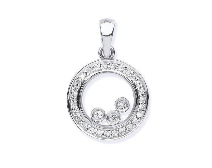 9ct White Gold 0.12ct Floating Trilogy Diamond Circle Pendant