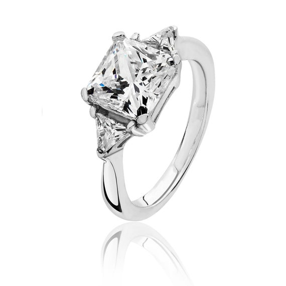 RHODIUM PLATED 925 HALLMARKED SILVER LARGE 10MM BRILLIANT CUT SOLITAIRE RING